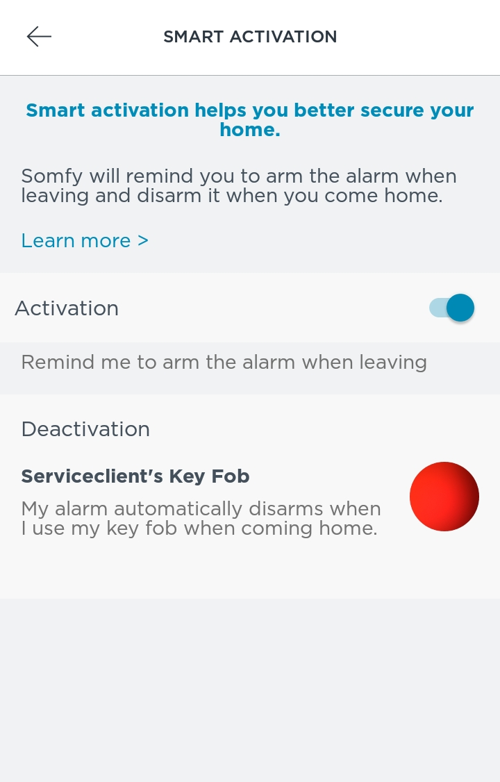 Activating and deactivating the alarm system